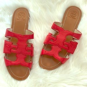 EUC Tory Burch Anchor Masai Red Leather Slides!